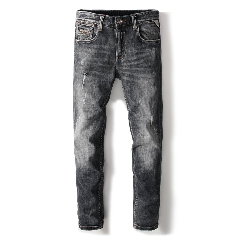 High Quality Preppy Style Brand Clothing Men`s Grey Jeans Distressed Mid Stripe Slim Fit Denim Ripped Jeans Pants Men 29-38 A634Îäåæäà è àêñåññóàðû<br><br>