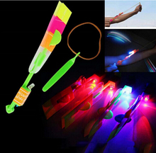 Kids Outdoor Flashing Toy Fly Arrow Amazing LED Light Arrow Rocket Helicopter Rotating Flying Toys Party Fun(China)