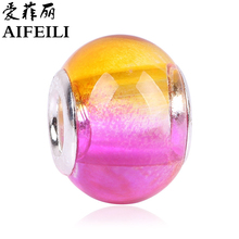 AIFEILI Arrive Gradient European Fashion Charms Murano Glass Beads Fit Pandora Style Charms Bracelets For Women Gradient Rainbow(China)