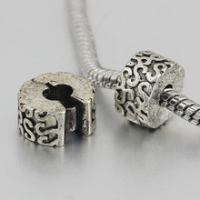 free shipping 1pc silver love clip heart stopper bead charm Fits European Pandora Charm Bracelets A161(2)