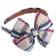 Classic Plaid Girls' Sweet Hairbands Headdress Women Hair Accessories Bowknot Wide Lace Plaid Headband Headwear