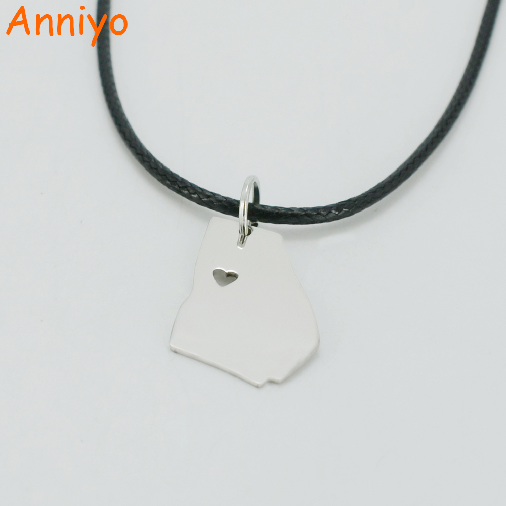 Anniyo Georgia Map Necklaces United States Maps Stainless Steel Pendant Rope For Peach State Usa America Jewelry Ga 001708