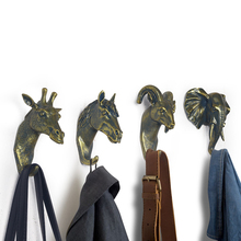 Buy 3 Send 4, Golden Elephant Giraffe Horse Goat Animal Decorative Hook Creative Resin Model Bathroom Wall Hook Coat Wall Hook