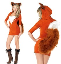 New Sexy Cute Orange Tail Fox Halloween Animal Women Costumes Slim Bodycon Dresses Carnival Party Faux Fur Costume Free Shipping