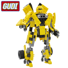 GUDI Robot Yellow Car Blocks 225pcs Bricks Building Blocks Set Assembled Models Educational Toys For Children