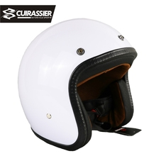 Cuirassier CH02 Motorcycle Helmet Synthetic Leather vintage Visor Motorbike Helmets Vespa Open Face Half Motor scooter White(China)