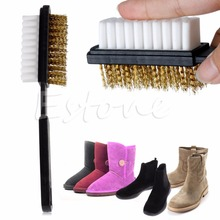 THINKTHENDO New A Shape 2 Side Shoe Cleaning Bristle Brush Suede Nubuck Boot Shoes Cleaner