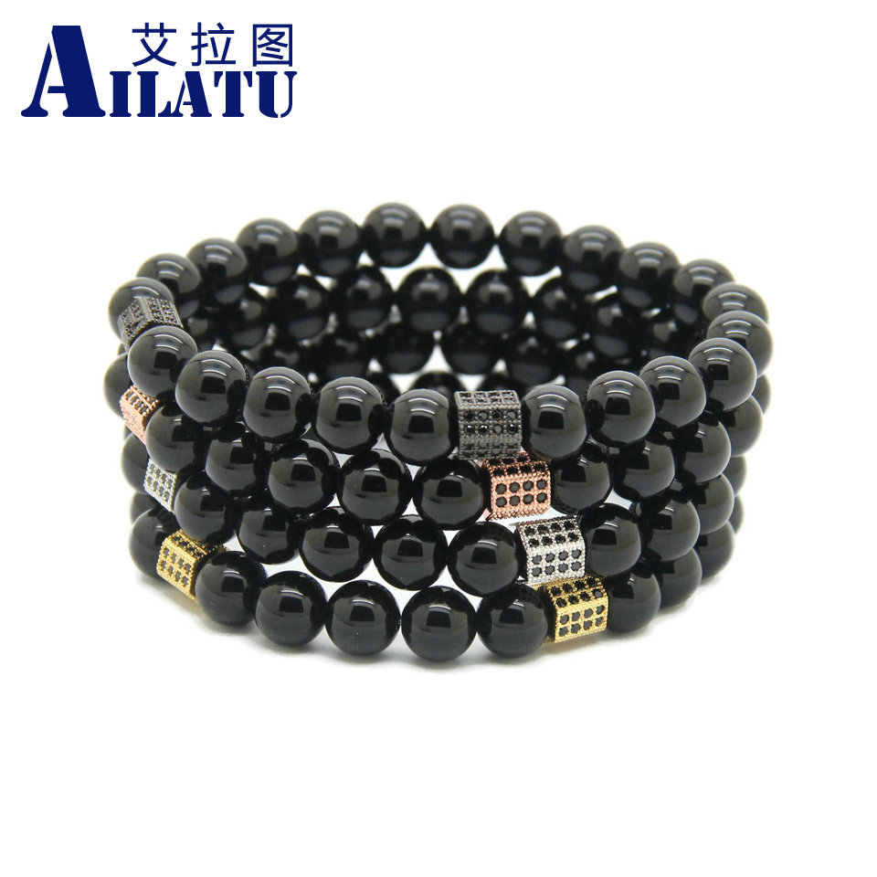 Ailatu Wholesale 10pcs/lot 8mm Black Onyx Stone with Rectangle Micro Inlay Black Zircon Mens cz Beads Bracelets Gift