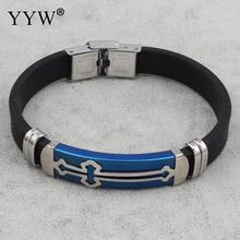 2017 Punk Style Cool gift Men's Bracelets Bangles Stainless Steel Pulseras Sillicone Bracelet Blue Tone Cross Bangles Jewelry(China)