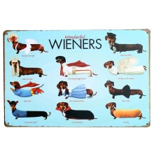 WONDERFUL WIENERS Metal Tin Plaque Dog Decor Sign Vintage Puppy Board for pet birthday party in playroom home LJ6-1 20x30cm A1(China)