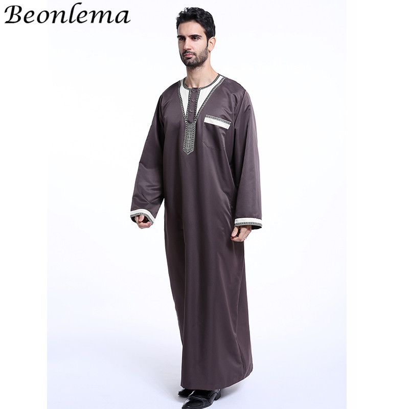 Beonlema Hijab Dress Muslim Adult Arabic Abaya Button Jubah Caftan
