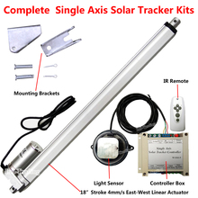12V Solar Tracker Kits -450mm 18'' 4mm/s Linear Actuator +Electric Controller +Light Sensor +IR Remote for Solar Panel Tracking(China)