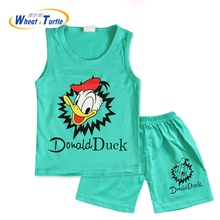 2017 New Summer Children Boys Girls Clothing 2Pcs Sleeveless T Shirt Vest Pants Set Kids Cotton Cartoon Clothes Casual Suits