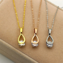 Vintage Accessories Women Jewelry Water Drop Pendants Necklaces IP Vacuum Plating 316L Stainless Steel Choker Necklace For Women(China)