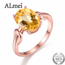 Almei Natural Oval Yellow Citrine 925 Sterling Silver Jewelry Rose Gold Wedding Anniversary Ring for Women with Box 40% FJ076