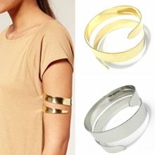 2017 fashion Latest upper arm bracelet & bangle cuff simple gold silver plated Iron wire adjustable for women free shipping