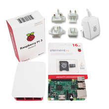 Raspberry PI 3 model B offical package include board + case + power supply + 16G micro SD card with noobs(China)