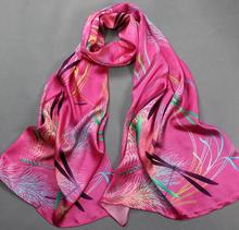 [SLKSCF] 180X50CM Fashion Digital Paint floral silk scarves wraps hand rolled hem real silk sunscreen 100% silk hijabs capes(China)