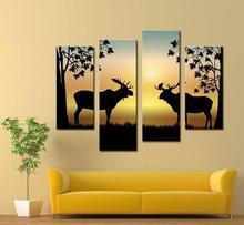 4 Picture Combination Deer Winter Deer Picture - LED Wrapped Canvas Print Shows 2 Deer with Antler Racks Wildlife Wall Decor(China)