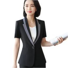 Buy 2018 Fashion women blazer Business summer formal V Neck short sleeve jackets office ladies plus size 3XL work wear black blazer for $20.61 in AliExpress store