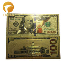 10Pcs/Lot Colorful USA Banknotes 100 Dollar Bills Bank Note in 24K Gold Plated Fake Currency Money For Gifts Free Shipping(China)