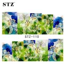 STZ 1sheets Pretty Beauty Nail Art Flower Decals Nail Water Transfer Stickers Full Wraps 3d Designs Manicure Accessory STZ110
