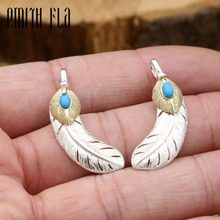 Buy 100% 925 Sterling Silver Thai Silver Vintage Feather Pendant Necklace Women Men Fashion Jewelry Retro for $11.83 in AliExpress store