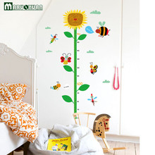 Ruler Height Decoration Home Decoration Wallpaper Kids Height Graphic Wall Sticker Sunflower Cartoon Decoration(China)