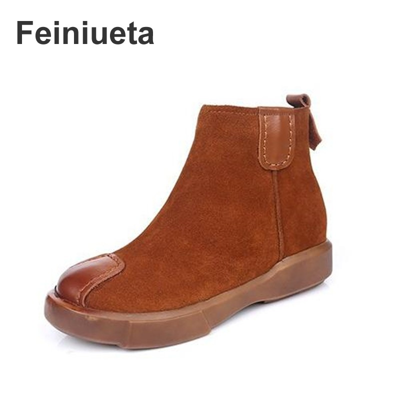 Feiniueta autumn and winter new leather British style Martin boots womens shoes  flat boots retro womens boots leather boots<br>