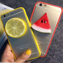 UVR CARTOON 3D lovely fruit lemon orange For Iphone 6 6s plus 5s 5 SE case phone cases cover bag mobile phone case Dust plug