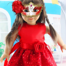 Red Dress Doll Clothes Suit Suitable For 18 Inch American Girl Doll Clothes DIY BarbieDoll Dress Up Accessories ingbaby WJ1052