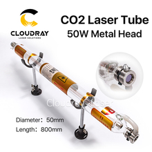 Cloudray Co2 Laser Tube Metal Head 800MM 50W Glass Pipe for CO2 Laser Engraving Cutting Machine(China)