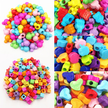 LNRRABC  50/200pcs Hot Colorful Heart Rabbit Mouse DIY Jewery Beads Acrylic Loose Beads Bracelets Necklace Accessories