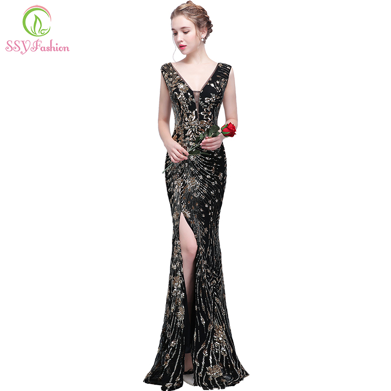 SSYFashion New Mermaid Evening Dress The Banquet Sexy V-neck Sleeveless Backless Black Gold Sequined Fishtail Formal Party Gown