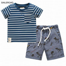 SAILEROAD Baby Boys Clothing Sets Summer Cartoon Dinosaur Shorts Pants And Striped Shirts Suits Children Kids Boys Suits Sets