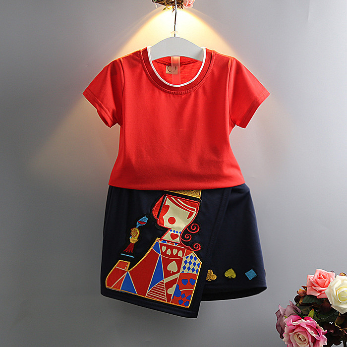 kids clothes Girls Korean carton Hearts K T-shirt + culottes suit baby clothes for 2-6T<br><br>Aliexpress