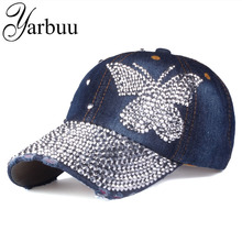 [YARBUU]Beauty caps new design popular women rhinestone denim baseball cap fashion brand woman jean crystal hip hop snapback hat