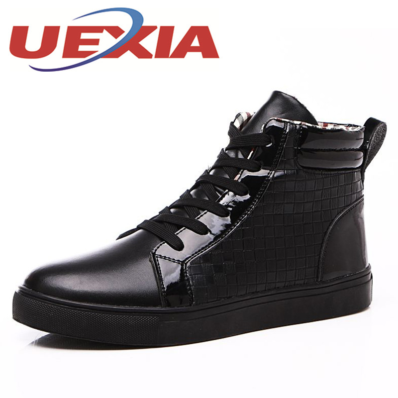 Plus Size 45 High Top Red Shoes Men Casual Flats Shoes Lace Up Sapatos Tenis Masculino Mens Winter Warm Ankle Platform Sneakers<br>