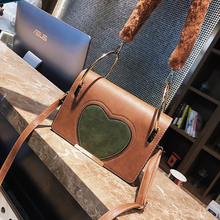 ETAILL 2018 Sweet Heart Small Flap Women Crossbody Bag Fur Strap Messenger One Shoulder Bag Lady Zipper Cover Vintage Handbags(China)