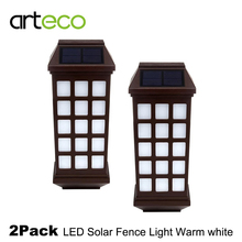 2PCS/Lot LED Solar Light Waterproof Outdoor Solar Fence Light Pathway Porch Garden Lights Solar Wall Light Warm white