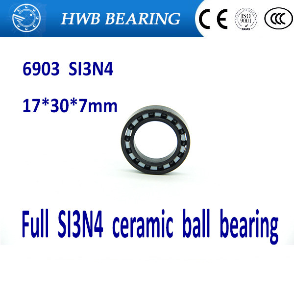 Free shipping 6903 full SI3N4 P5 ABEC5 ceramic deep groove ball bearing 17x30x7mm full complement<br>
