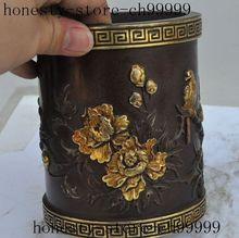christmas china antique palace red copper gold bird flower statue brush pot pencil vase halloween
