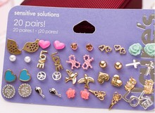 Min Order $10 Claire  stud earring pack set 20 pairs birdIcecream stars cross flower love heart