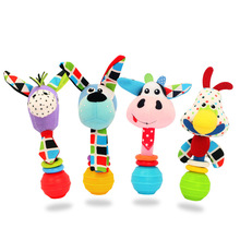 0M+ Soft Handbell Rattle Ring Bell Plush Rattle Squeaker Rod Baby Toy Cute Cartoon Animal Musical Dog Cow Chick Horse Plush Toy(China)