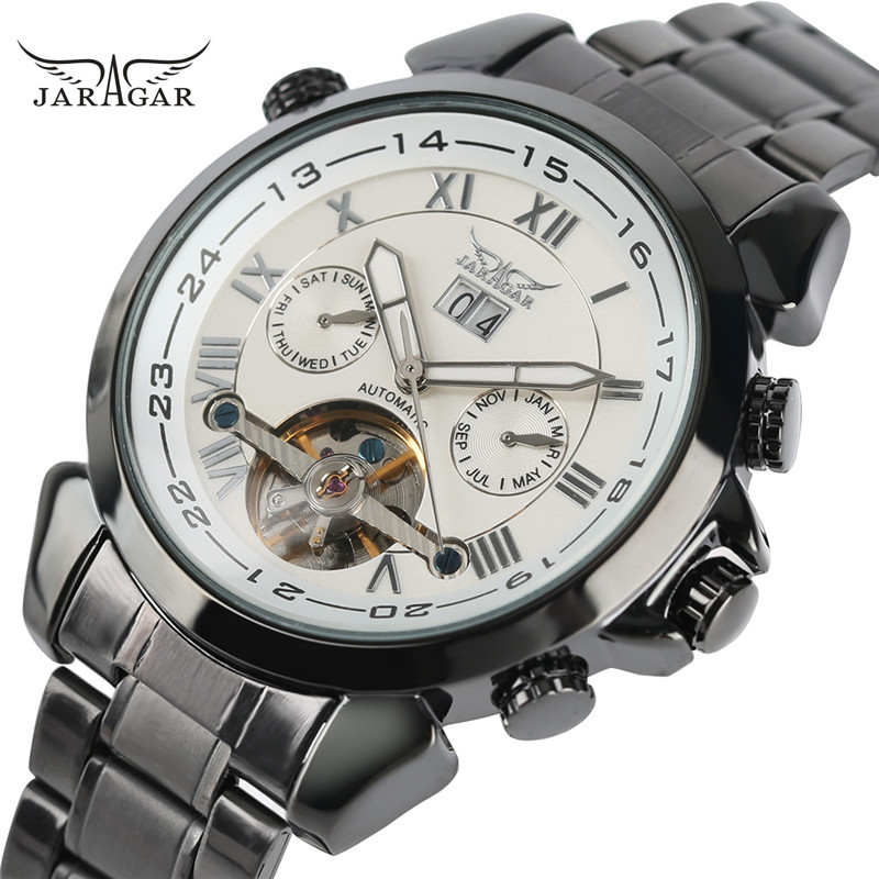 2017 JARAGAR Mens Montre Homme Day/Week/Month Tourbillon Auto Mechanical Wristwatch Gift Box Free Ship<br>