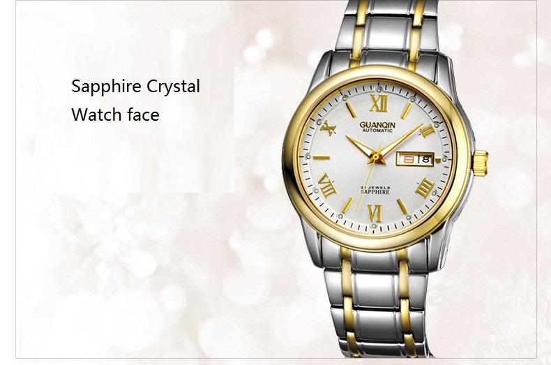 1 Pair GUANQIN Lovers Mechanical Watches Couple Automatic Watch Men Women Clock Auto Date Luminous Waterproof Brand Watch Men (9)