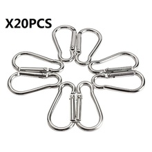 20Pcs/set Freeship Silver Aluminum Spring Carabiner Snap Hook Hanger  D-Shape Keychain Travel Kit for Camping Hiking 4.5*2.1cm