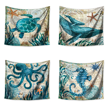 Monily Cartoon Marine Tapestry Wall Hanging Decor Ocean Turtle Octopus Carpets Home Decor Hanging Living Printing Wall Tapestry