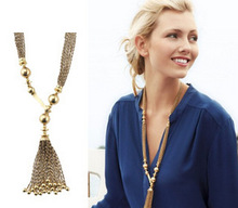 Buy 2016 Fashion Gold Shiny Long Multilayer Metal Beads Chain Tassels Necklaces & Pendants Sweater Chain Women Statement Jewelry for $2.77 in AliExpress store