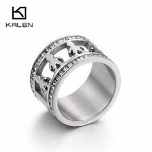Kalen Cute Baby Boy Figure Shape Rings Exquisite Clear Cubic Zirconia Stainless Steel Silver Color Round Rings For Women Jewelry(China)